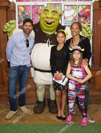 Angela Griffin, partner Jason Milligan and daughters Tallulah and Melissa with Shrek
