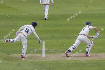 Michael Richardson (Durham County Cricket Club)attemps to stump Alex Z Lees(Yorkshire CCC) during the LV County Championship Div 1 match between Durham County Cricket Club and Yorkshire County Cricket Club at the Emirates Durham ICG Ground, Chester-le-Street