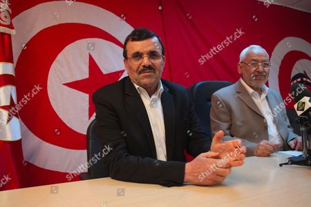 Tunisian Islamist Leader of the Ennahda Movement Rached Ghannouchi and Tunisian Former Prime Minister Ali Laarayedh attend during a press conference, in Tunis.