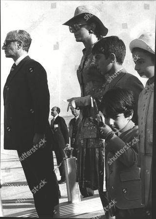 The Shah Of Iran And The Empress Farah Of Iran With Their Children At Shiraz Airport; Princess Farahnaz Pahlavi (8) Crown Prince Reza Pahlavi (11) And Prince Ali Reza Pahlavi (5). Box 0591 22062015 00421a.jpg.