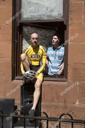 Stock Image of Graeme Obree chatting with locals in Govan.