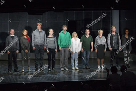 Sean McKenzie (Reverend Peters), Indra Ove (Mrs Shears), Stephen Beckett (Roger Shears), Mary Stockley (Judy), Sion Daniel Young (Christopher Boone), Rebecca Lacey (Siobhan), Nicolas Tennant (Ed), Jacqueline Clarke (Mrs Alexander), Matthew Trevannion (Mr Thompson) and Pearl Mackie (No 40/Punk Girl) during the curtain call