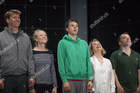Stock Image of Stephen Beckett (Roger Shears), Mary Stockley (Judy), Sion Daniel Young (Christopher Boone), Rebecca Lacey (Siobhan) and Nicolas Tennant (Ed) during the curtain call