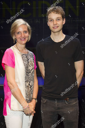 Stock Image of Marianne Elliott (Director) and Sion Daniel Young (Christopher Boone) backstage after the curtain call