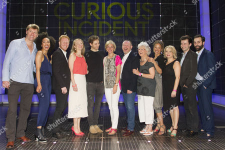 Stephen Beckett (Roger Shears), Pearl Mackie (No 40/Punk Girl), Matthew Trevannion (Mr Thompson), Mary Stockley (Judy), Sion Daniel Young (Christopher Boone), Marianne Elliott (Director), Sean McKenzie (Reverend Peters), Jacqueline Clarke (Mrs Alexander), Indra Ove (Mrs Shears), Rebecca Lacey (Siobhan), Kaffe Keating (Alternate Christopher) and Simon Victor (Understudy Roger Shears) backstage after the curtain call