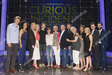 Stephen Beckett (Roger Shears), Pearl Mackie (No 40/Punk Girl), Matthew Trevannion (Mr Thompson), Mary Stockley (Judy), Sion Daniel Young (Christopher Boone), Bunny Christie (Designer), Marianne Elliott (Director), Sean McKenzie (Reverend Peters), Jacqueline Clarke (Mrs Alexander), Indra Ove (Mrs Shears), Rebecca Lacey (Siobhan), Kaffe Keating (Alternate Christopher) and Simon Victor (Understudy Roger Shears) backstage after the curtain call