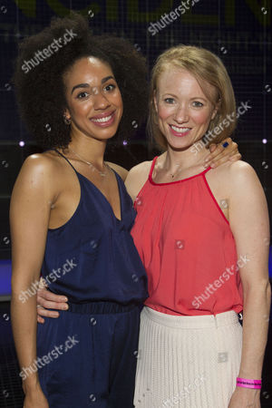 Stock Photo of Pearl Mackie (No 40/Punk Girl) and Mary Stockley (Judy) backstage after the curtain call