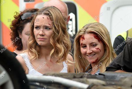 Filming the Hollyoaks car crash with Daisy Wood-Davis and Jazmine Franks