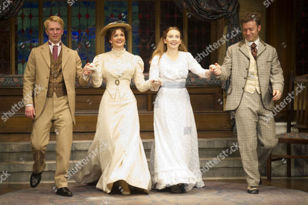 Michael Benz (Jack Worthing), Emily Barber (Gwendolen Fairfax), Imogen Doel (Cecily Cardew) and Philip Cumbus (Algernon Moncrieff)