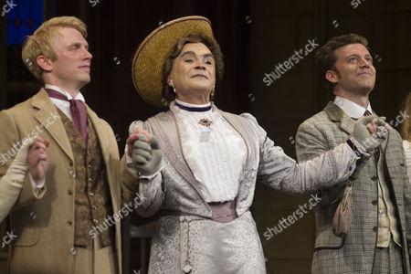 Michael Benz (Jack Worthing), David Suchet (Lady Bracknell) and Philip Cumbus (Algernon Moncrieff)