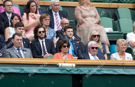 Chairman Philip Brock, Lynette Federer, Robert Federer (parents of Roger), Kit Harington and Gillian Brock in the Royal Box.