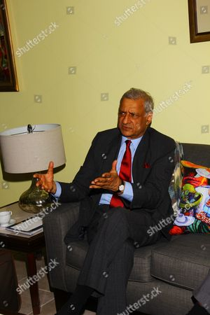 The Commonwealth Sec. General Kamalesh Sharma seated in the VIP Lounge chatting with the media