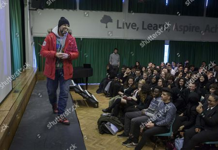 Comedian Humza Arshad talks to The Whitefield School pupils about the dangers of radicalisation