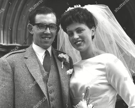 Stock Picture of Wedding Of Former Scots Swimming Champion Jim Hill To International Swimmer Miss Anne Marshall At St. John's Church Redhill Surrey. Box 0592 24062015 00156a.jpg.