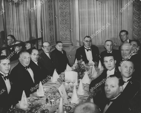 Boxers Old And New At A Dinner Celebrating The Opening Of The National Sporting Club's New West End Quarters. L-r: Arthur Danahar Matt Wells Sid Smith Johnny Basham Joe Bowker Dick Smith Young Josephs Jim Sullivan Pat O'keefe Teddy Baldock And Nearest The Camera Jimmy Wilde. Box 0592 24062015 00286a.jpg.