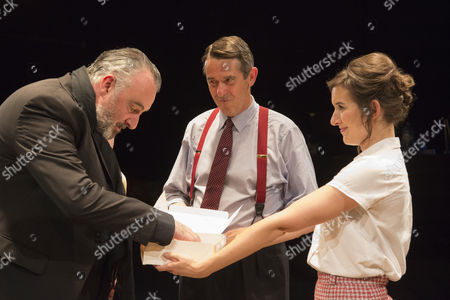 Stock Image of L-R: John Hodgkinson as Orson Wells, Adrian Lukis as Laurence Olivier and Louise Ford as Joan Plowright