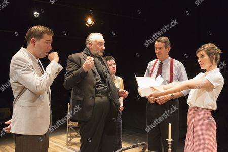 Stock Photo of L-R: Edward Bennet as Kenneth Tynan, John Hodgkinson as Orson Welles, Ciaran O'Brien as Sean, Adrian Lukis as Laurence Olivier and Louise Ford as Joan Plowright