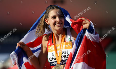 Great Britain Isobel Pooley celebrates winning with her gold medal in the Women's High Jump