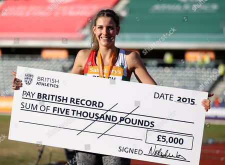 Great Britain Isobel Pooley with check after breaking the National Record in the Women's High Jump