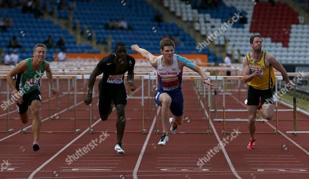 Great Britain Lawrence Clarke wining  the Men's 110m Hurdles Final