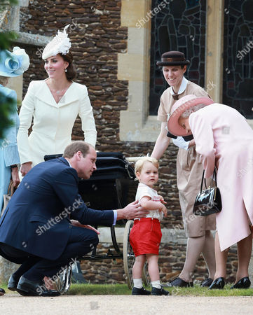 Stock Photo of Catherine Duchess of Cambridge, Prince William, Princess Charlotte of Cambridge and Prince George, Queen Elizabeth II and Royal nanny Maria Teresa Turrion Borrallo leave the Church of St Mary Magdalene