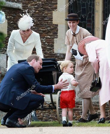 Catherine Duchess of Cambridge, Prince William, Princess Charlotte of Cambridge and Prince George, Queen Elizabeth II and Prince George's nanny, Maria Teresa Turrion Borrallo