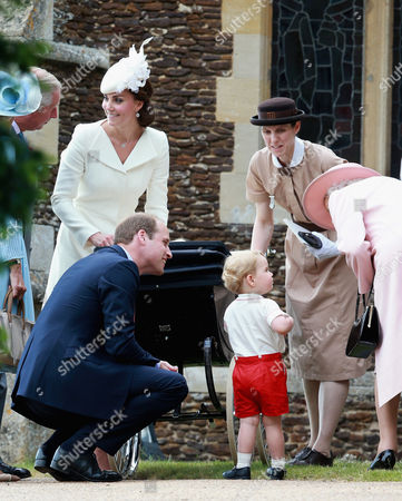 Stock Image of Catherine Duchess of Cambridge, Prince William, Princess Charlotte of Cambridge and Prince George, Queen Elizabeth II and Prince George's nanny, Maria Teresa Turrion Borrallo