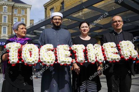 Survivor Gill Hicks (3rd left) with faith leaders Rabbi Laura Janner-Klausner, Imam Qari Asim and Revd Bertrand Olivier promote 'Walk Together'