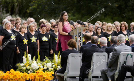 Esther Hyman at the 7-7 memorial in London's Hyde Park