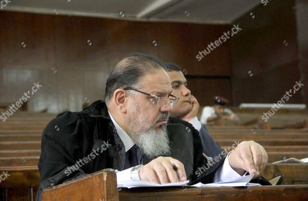 Egyptian Lawyers attend the trial of Egyptian radical Islamist Mohammed al-Zawahiri, the brother of Al-Qaeda chief Ayman al-Zawahiri with 68 other defendants