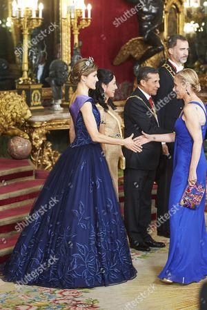 King Felipe VI, Queen Letizia, Peruvian President Ollanta Humala and wife Nadine Heredia