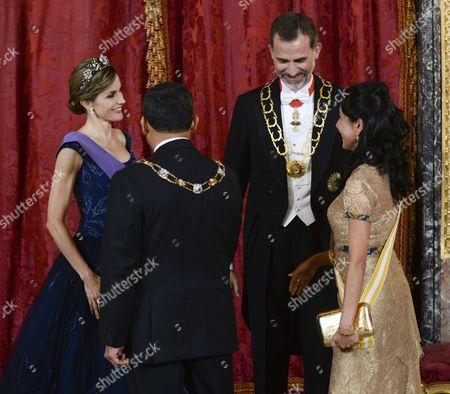 Queen Letizia, King Felipe VI, Ollanta Humala, and Nadine Heredia