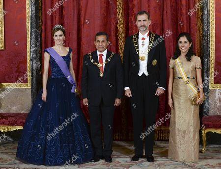 Queen Letizia, Ollanta Humala, King Felipe VI and Nadine Heredia
