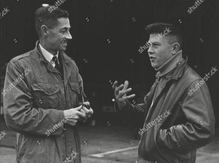 Editorial image of Marcel Tournier (r) France's Leading Parachutist With Capt. J. D. Scott Martin Baker Test Pilot. Box 0593 24062015 00103a.jpg.