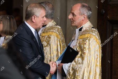 Stock Photo of Prince Andrew, Prince Andrew shakes hands with The Dean of St Pauls Cathedral, The Very Reverend David Ison