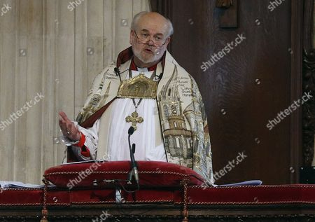 The Bishop of London Right Reverend Richard Chartres speaks during a service in St Paul's Cathedral to commemorate the tenth anniversary of the London Bombings