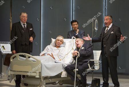 Matthew Kelly as Corvino, Henry Goodman as Volpone, Geoffrey Freshwater as Corbaccio, Orion Lee as Mosca, Miles Richardson as Voltore