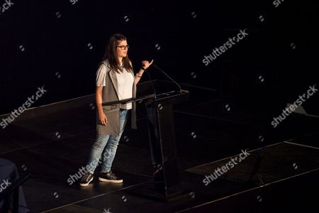 Megan Dunn speaking at the Macron Stadium