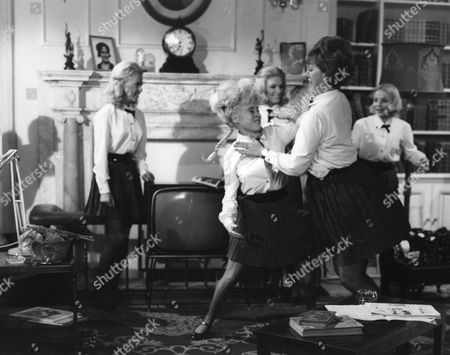 Barbara Windsor and Anna Karen fight watched by Lesley Duff, Trisha Noble and Elizabeth Knight