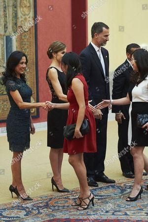 King Felipe VI, Queen Letizia, Peruvian President Ollanta Humala and Nadine Heredia Alarcon