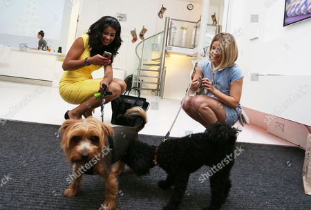 Stock Picture of Layla Flaherty with her dog Buttons and Olivia Cox and her friend' dog Snoop