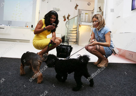 Layla Flaherty with her dog Buttons and Olivia Cox and her friend' dog Snoop