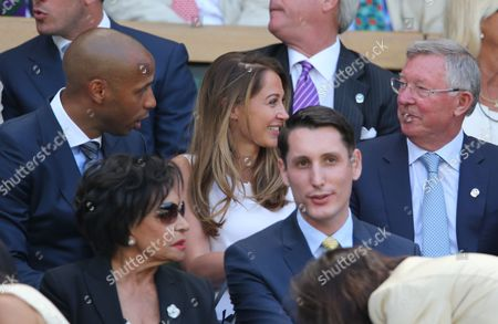 left to right Thierry Henry , Andrea Rajacic and Sir Alex Ferguson take their seats on Centre court