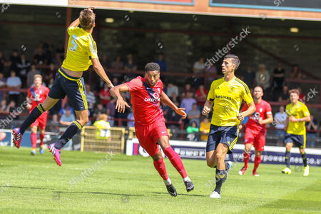 Stock Image of Daniel Ayala , Dale Fry and Vadaine Oliver during the Friendly match between York City and Middlesbrough at Bootham Crescent, York
