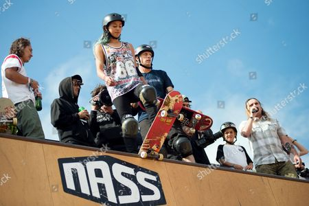 Stock Photo of Lizzie Armanto and Tony Hawk