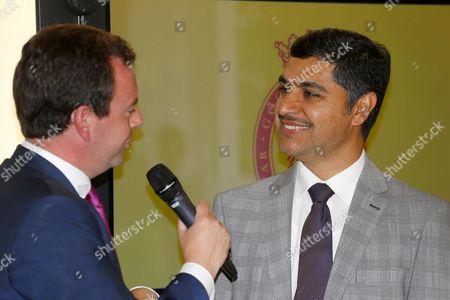 Jassim Al Ghazali with Nick Luck at The Qatar Goodwood Festival Press Launch British Academy