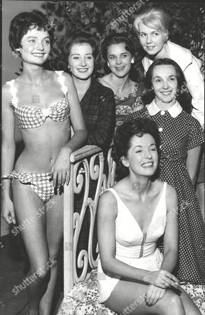 Girls From The Show 'from The French' Which Opens At Manchester Palace. L-r: Bridget Mcconnel Paddy Webster Mary Steele Annie Leslie Ingrid Hafner And Sitting In Swimsuit Leading Lady Barbara Shelley. Box 0598 25062015 00232a.jpg.