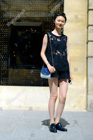 Editorial picture of Street Style at Autumn Winter 2015, Haute Couture, Paris Fashion Week, France - Jul 2015