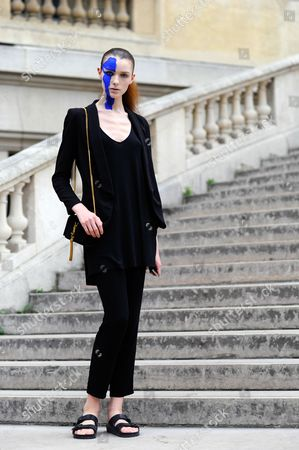 Stock Image of Model Jada Joyce, after Mason Margiela at Grand Palais.