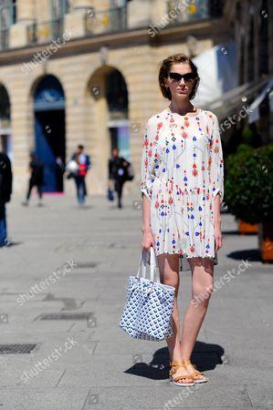Stock Image of Model Sabina Lobova Off Duty, after Schiaparelli Haute Couture, Place Vendome